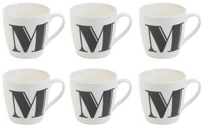 Cambridge CM04034 Harrogate M Black Alphabet Fine China Mug Set of 6 Thumbnail 1