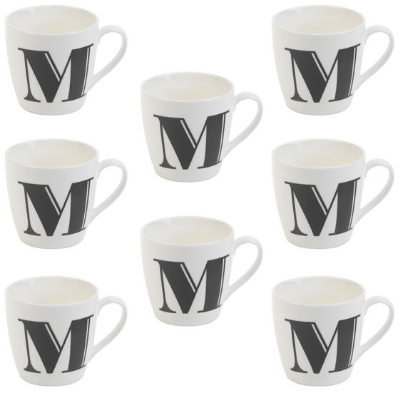 Cambridge CM04034 Harrogate M Black Alphabet Fine China Mug Set of 8