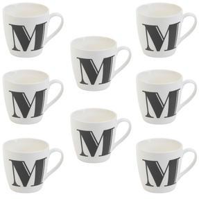 Cambridge CM04034 Harrogate M Black Alphabet Fine China Mug Set of 8 Thumbnail 1