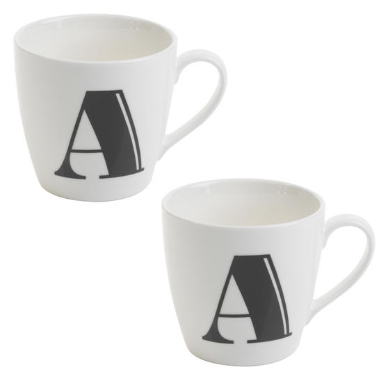 Cambridge CM04035 Harrogate A Black Alphabet Fine China Mug Set of 2