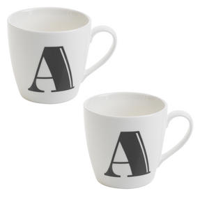 Cambridge CM04035 Harrogate A Black Alphabet Fine China Mug Set of 2 Thumbnail 1