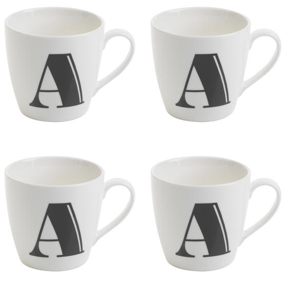 Cambridge CM04035 Harrogate A Black Alphabet Fine China Mug Set of 4