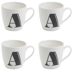 Cambridge CM04035 Harrogate A Black Alphabet Fine China Mug Set of 4 Thumbnail 1