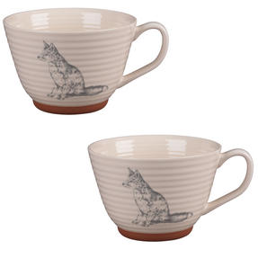 Portobello CM04201 Stafford Wildlife Fox Stoneware Mug Set of 2