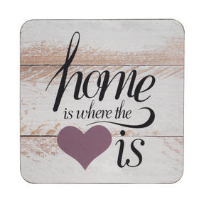 Inspire TW290410 Luxury Home Is Where The Heart Is Coasters, 10.5 x 10.5cm, Hardboard, Set of 4 Thumbnail 1