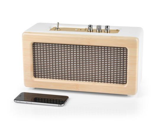 Intempo EE1447 Cream Retro Speaker with Leather Cover