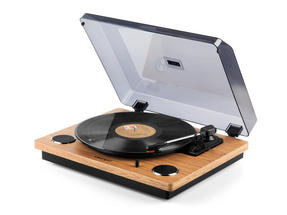 Intempo Oak Revolve Record Player Turntable