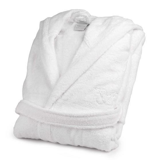 Frette 1705708 White Cotton Bath Robe with Hood ? Small/Medium