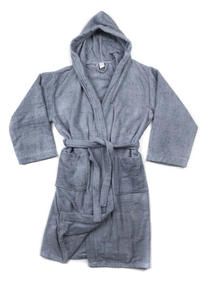 Frette 1705713 Large/XLarge Bath Robe With Hood, 100% Cotton, Blue