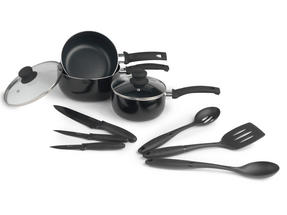 Russell Hobbs BW04665 9 Piece Kitchen Pan, Utensil and Knife Combo Set, Black Thumbnail 1