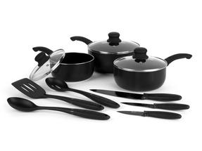 Russell Hobbs BW04665 9 Piece Kitchen Pan, Utensil and Knife Combo Set, Black Thumbnail 2
