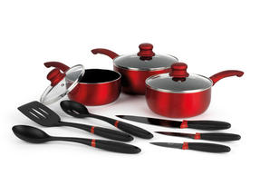 Russell Hobbs BW04665 9 Piece Kitchen Pan, Utensil and Knife Combo Set, Red Thumbnail 2