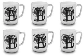 Portobello CM04994 Devon Exploring The Earth Bone China Mug Set of 6