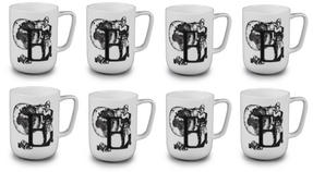 Portobello CM04994 Devon Exploring The Earth Bone China Mug Set of 8