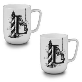 Portobello CM04997 Devon Lighthouse & Lanterns Bone China Mug Set of 2