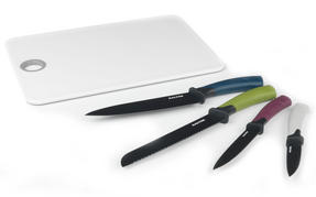Salter Colour Collection 4 Piece Knife Set with Chopping Board Thumbnail 1