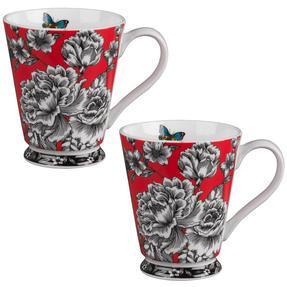 Portobello CM04307 Buckingham Butterfly Garden Bone China Mug Set of 2