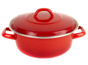 Salter BW04836 Red 22cm Enamel Casserole Pot Thumbnail 1