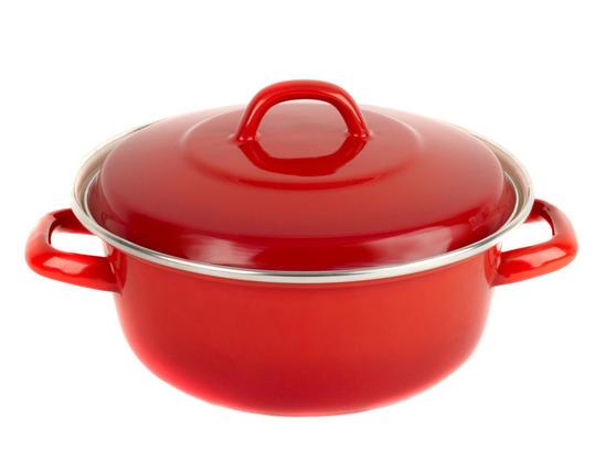 Salter BW04837 Red 24cm Enamel Casserole Pot