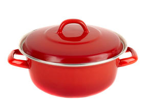Salter BW04838 Red 26cm Enamel Casserole Pot Thumbnail 1