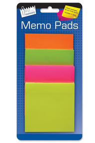 Just Stationery 5927 75 mm Sticky Memo Pads ? Pack of 4