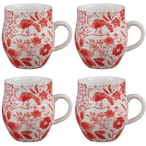 Portobello CM04381 Anglesey Paradise Red Stoneware Mug Set of 4 Thumbnail 1