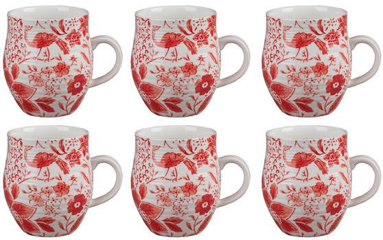 Portobello CM04381 Anglesey Paradise Red Stoneware Mug Set of 6