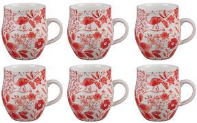 Portobello CM04381 Anglesey Paradise Red Stoneware Mug Set of 6 Thumbnail 1