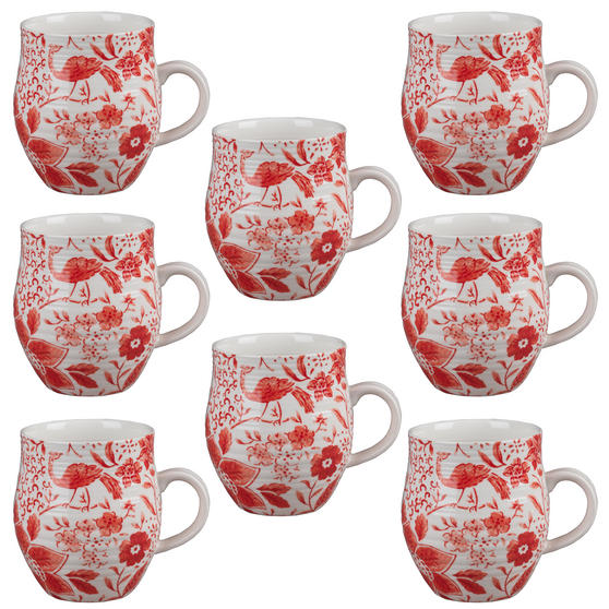 Portobello CM04381 Anglesey Paradise Red Stoneware Mug Set of 8
