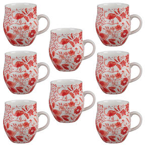 Portobello CM04381 Anglesey Paradise Red Stoneware Mug Set of 8 Thumbnail 1
