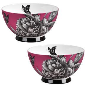 Portobello CM04472 Footed Zen Garden Pink Bone China Bowl Set of 2