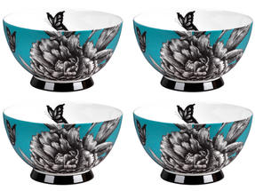 Portobello CM04473 Footed Zen Garden Teal Bone China Bowl Set of 4