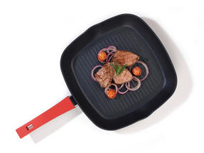Progress BW04942 Forged Aluminium Red 28 cm Non Stick Griddle Pan Thumbnail 2