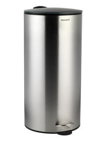 Progress 30 Litre Stainless Steel Pedal Bin with Grey Soft Closing Lid