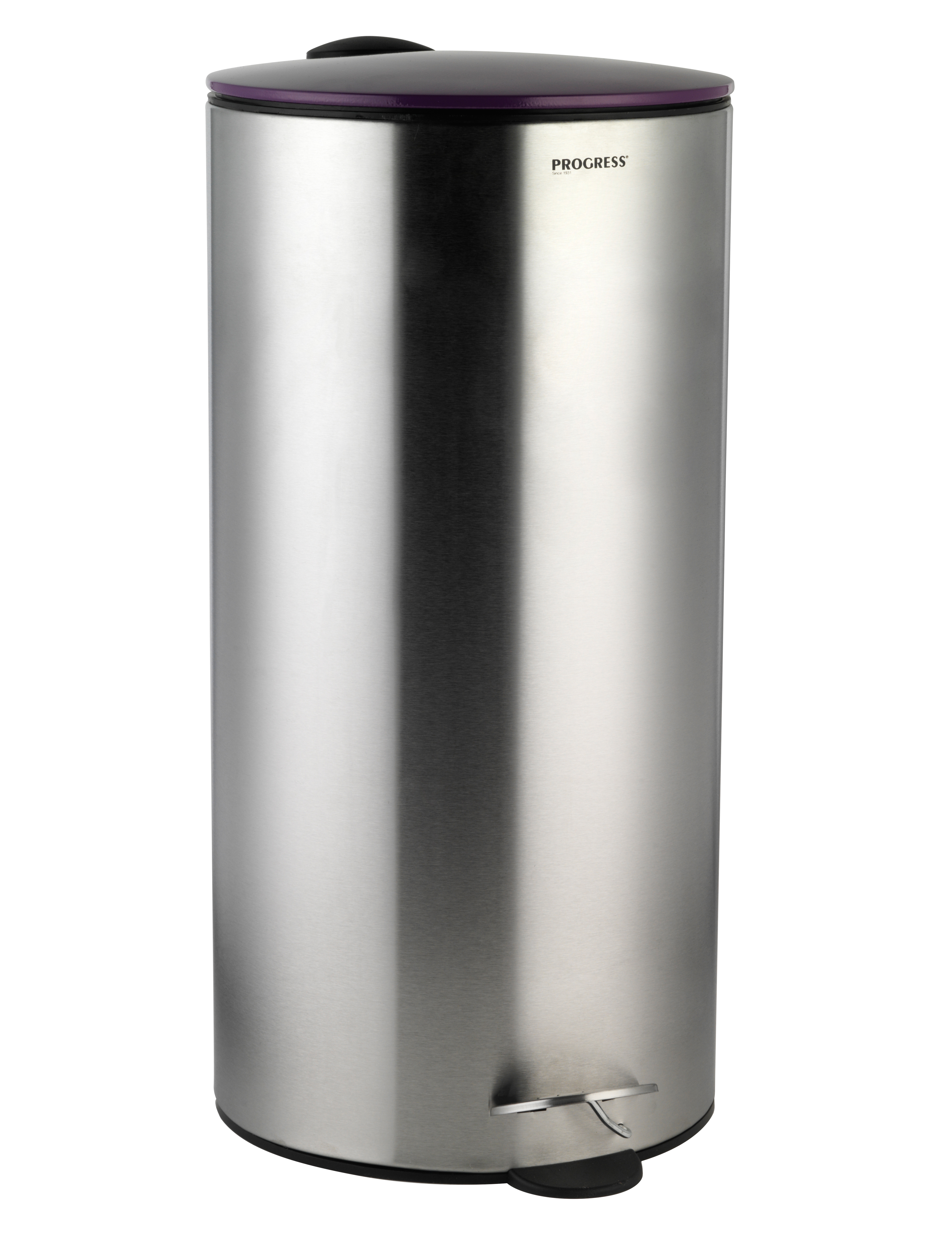 Progress litre stainless steel pedal bin with purple