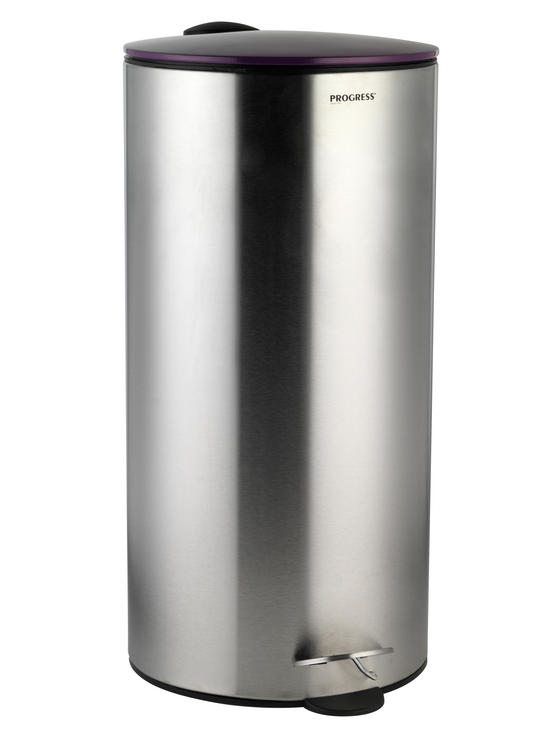Progress BW05303 30 Litre Stainless Steel Pedal Bin with Purple Soft Closing Lid
