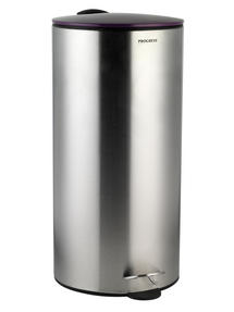 Progress 30 Litre Stainless Steel Pedal Bin with Purple Soft Closing Lid
