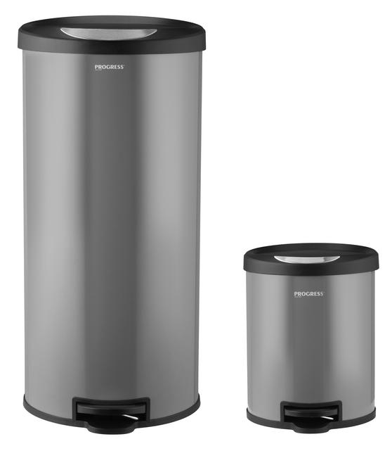 Progress Round Kitchen/Bathroom Pedal Bin Set, 30 & 5 Litre, Grey