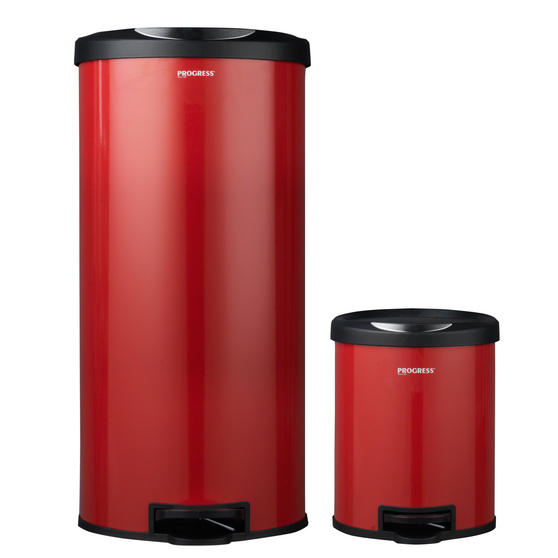 Progress Round Kitchen/Bathroom Pedal Bin Set, 30 & 5 Litre, Red