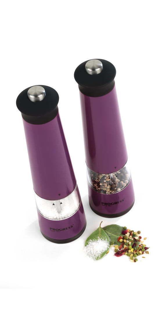 Progress BW05376 Set of 2 Purple Electric Mills with Light