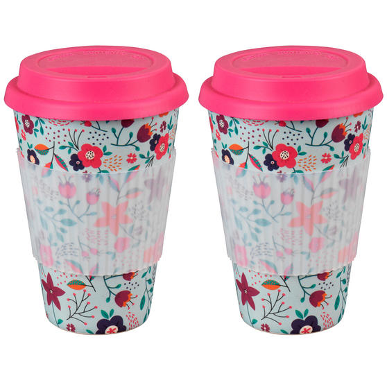 Cambridge CM04436 Bamboo Poppy Flowers Travel Mug Set of 2