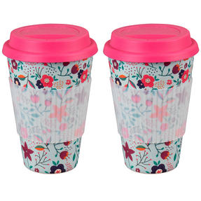 Cambridge CM04436 Bamboo Poppy Flowers Travel Mug Set of 2 Thumbnail 1