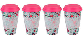 Cambridge CM04436 Bamboo Poppy Flowers Travel Mug Set of 4 Thumbnail 1