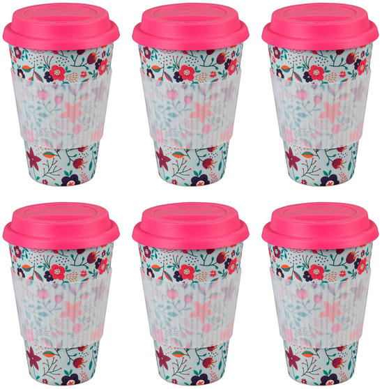Cambridge CM04436 Bamboo Poppy Flowers Travel Mug Set of 6