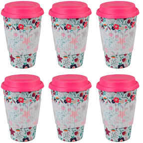 Cambridge CM04436 Bamboo Poppy Flowers Travel Mug Set of 6 Thumbnail 1