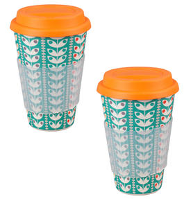 Cambridge CM04438 Bamboo Retro Daisy Travel Mug Set of 2