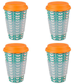 Cambridge CM04438 Bamboo Retro Daisy Travel Mug Set of 4
