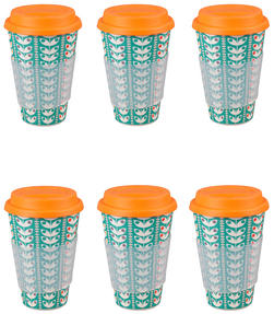 Cambridge CM04438 Bamboo Retro Daisy Travel Mug Set of 6