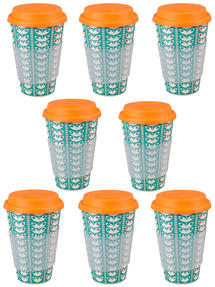 Cambridge CM04438 Bamboo Retro Daisy Travel Mug Set of 8