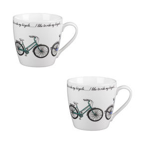 Cambridge CM04337 Harrogate Bikes Fine China Mug Set of 2